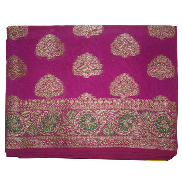 Magenta With Golden Handloom Buti Design Banaras cotton Silk Saree of Uttar Pradesh AJODI001597