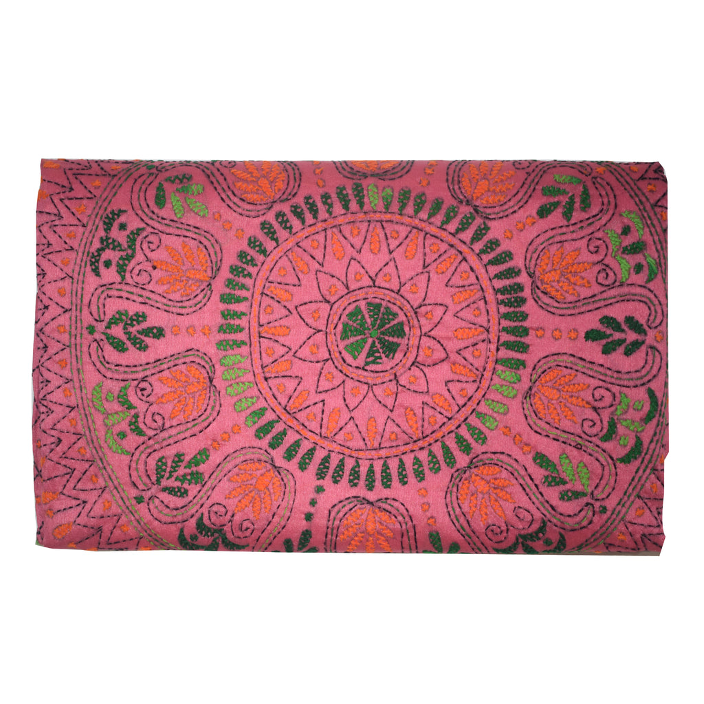 Pink Color Handloom Kantha Stitch Cotton silk Saree Of West Bengal AJODI001652