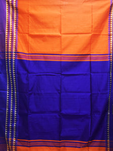 Orange With Navy Blue Color Handloom Temple Border Design Cotton Saree Of West Bengal AJODI001656