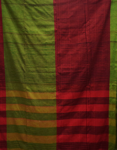 Light Green With Maroon Color Handloom Design Cotton Saree Of West Bengal AJODI001657