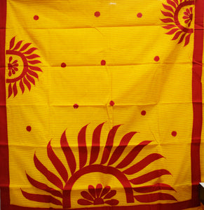 Yellow With Red Color Handloom Applique Design Cotton Saree Of West Bengal AJODI001658