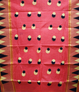 Light Red With Black Handloom Ball Design Cotton Saree Of West Bengal AJODI001661