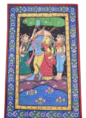 Handpainted Lord Radha Krishna Patachitra Painting made in Odisha Raghurajpur AJODI001671