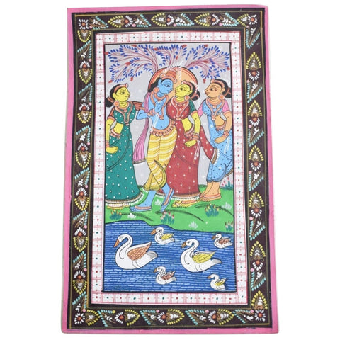 Handpainted Lord Radha Krishna Patachitra Painting made in Odisha Raghurajpur AJODI001672