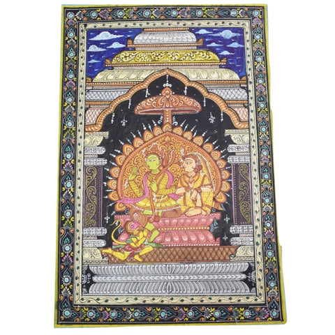 Handpainted Lord Ram Sita Patachitra Painting made in Odisha Raghurajpur AJODI001673