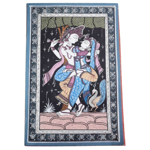 Handpainted Lord Radha Krishna Patachitra Painting made in Odisha Raghurajpur AJODI001675