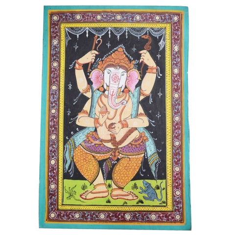 Handpainted Lord Ganesh Patachitra Painting made in Odisha Raghurajpur AJODI001679
