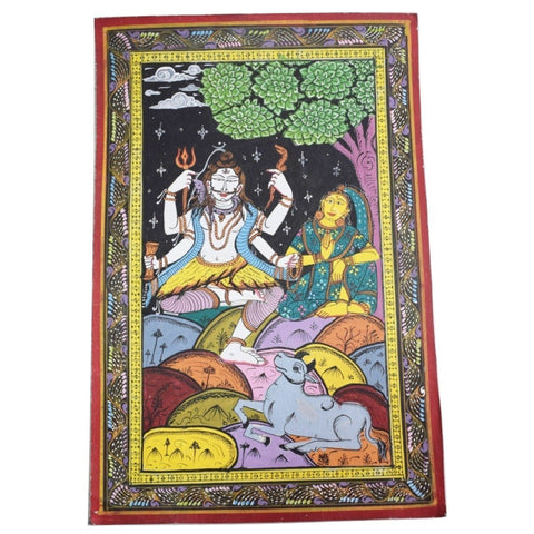 Handpainted Lord Shiva Parbati Patachitra Painting made in Odisha Raghurajpur AJODI001680