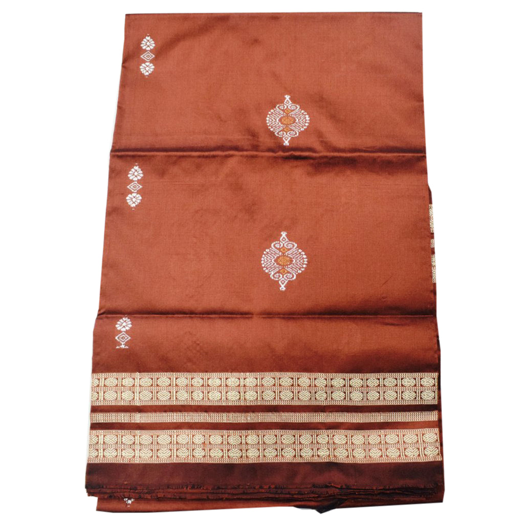Brown Colour Sambalpuri Handloom Bomkai silk Women's Top Made in Odisha AJODI001711