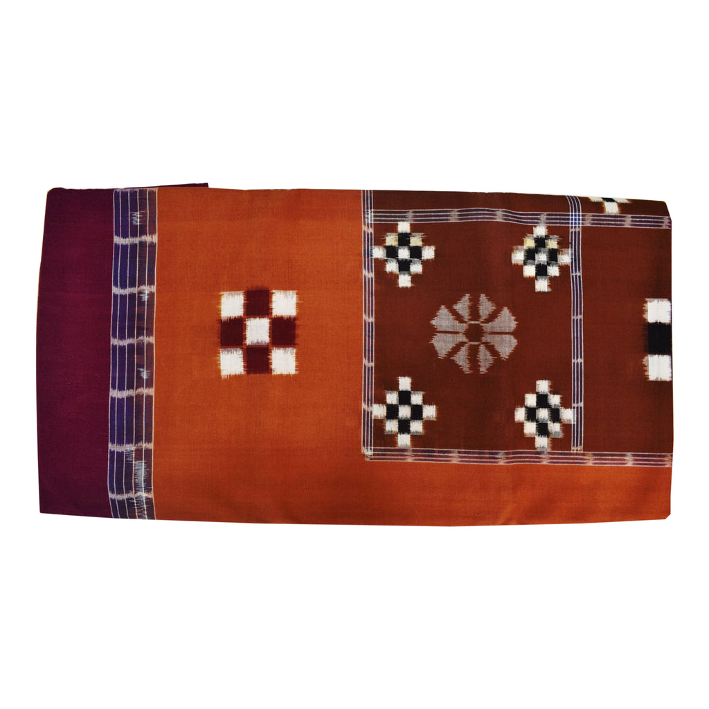 Maroon With Deep Brown Color Combination Of Handloom Pasapalli Design Single Bedsheet Of Sambalpur, Odisha AJODI001715