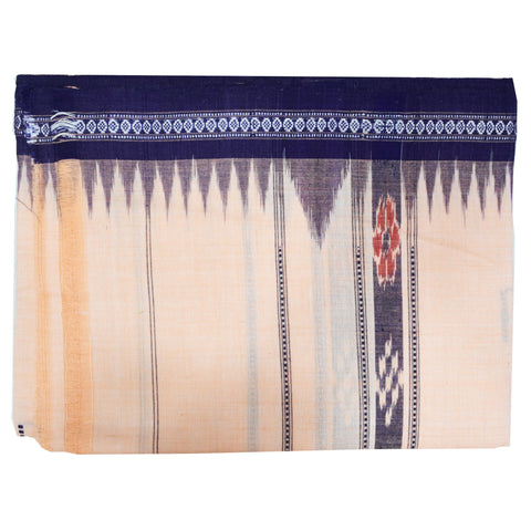 Light Orange With Navy Blue Color Combination Of Handloom Temple Design Towel Of Sambalpur, Odisha AJODI001735