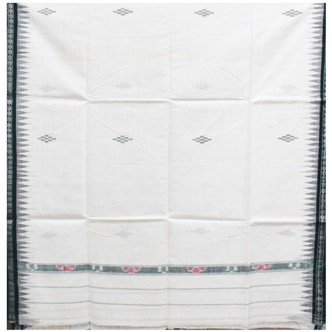 White With Green Color Combination Of Handloom Temple Design Towel Of Sambalpur, Odisha AJODI001737