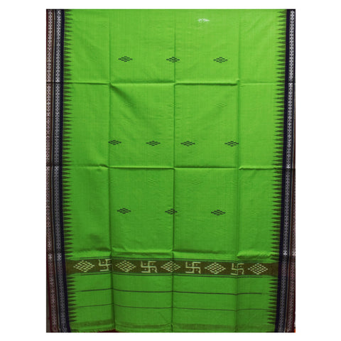 Forest Green With Maroon Color Combination Handloom Temple Design Towel Of Sambalpur, Odisha AJODI001740