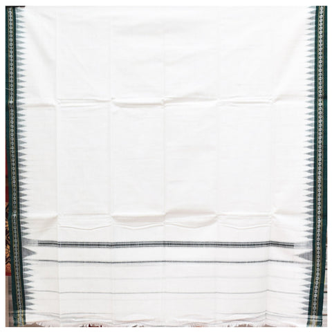 White With Green Color Combination Of Handloom Temple Design Towel Of Sambalpur, Odisha AJODI001742