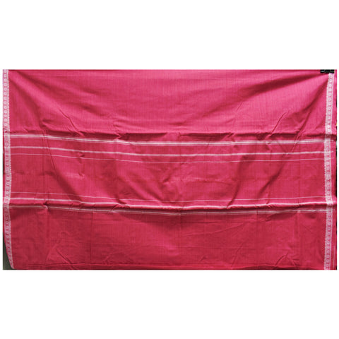 Light Red With White Color Combination Of Handloom Cotton Joda Of Sambalpur, Odisha AJODI001747