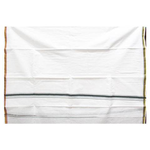 White With Green Color Combination Of Handloom Cotton Joda Of Sambalpur, Odisha AJODI001751