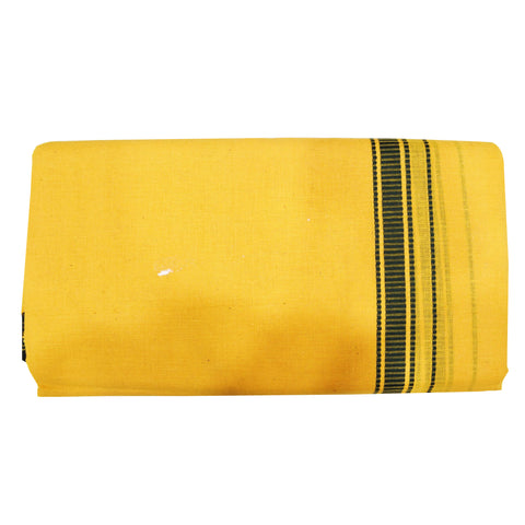 Deep Yellow With Green Color Combination Of Handloom Cotton Joda Of Sambalpur, Odisha AJODI001753