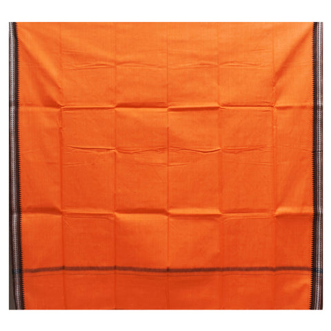 Orange With Faded Brown Color Combination Of Handloom Plain Design Towel Of Sambalpur, Odisha AJODI001755