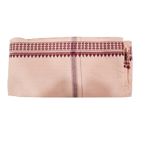 Ghee Color With Maroon Border Of Handloom Temple Design Towel Of Sambalpur, Odisha AJODI001756