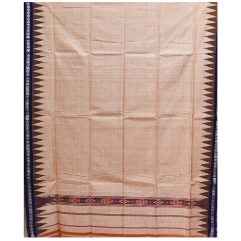 Brown With Deep Blue Color Combination Of Handloom Temple Design Towel Of Sambalpur, Odisha AJODI001757