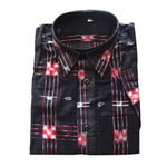 Black With Multi Sambalpuri Handloom Half Shirt for Men Made in Odisha AJ001759