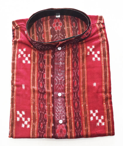 Deep Red With Multi Sambalpuri Handloom cotton Kurta for Men made in Odisha Sambalpur AJODI001767