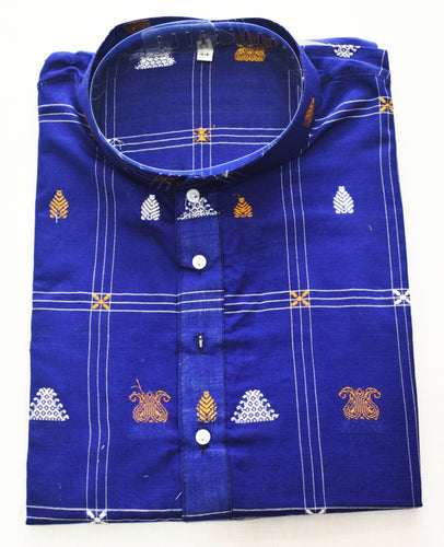 Blue With Multi Sambalpuri Handloom cotton Kurta for Men made in Odisha Sambalpur AJODI001768