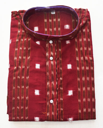 Red With Multi Handloom Sambalpuri Handloom cotton Kurta for Men made in Odisha Sambalpur AJODI001770