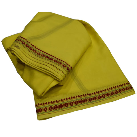 Yellow Color Handloom Cotton Joda For Special Functions AJODI001816