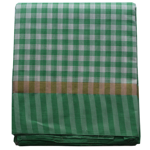 Handloom Check Design Green With White Colour South Cotton Saree AJODI001820