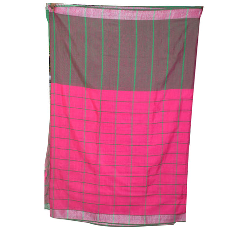 Banarasi Cotton Saree Pink With Deep Brown AJODI001841