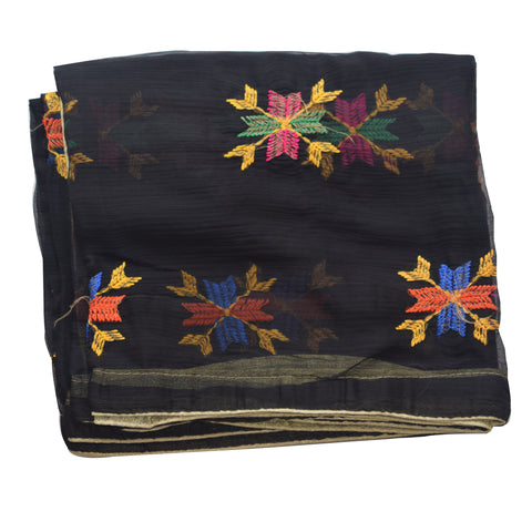 Handicraft Black With Multi Colour Phulkari Dupatta AJODI001844
