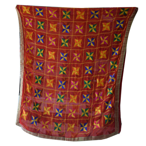 Handicraft Red With Multi Colour Phulkari Dupatta AJODI001845