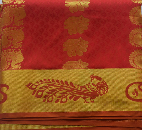 Handloom Red With Golden Border South Cotton Saree AJODI001884