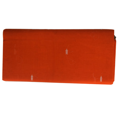 Booti Design Handloom Orange Colour Cotton Saree From Berhmpur AJODI001903