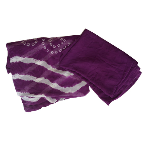 Lehriya Saree With Blouse Piece Purple Colour From Rajasthan AJODI001907
