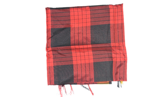 HANDLOOM RED WITH BLACK COLOUR CHECK DESIGN SOUTH SILK SAREE AJODI001960