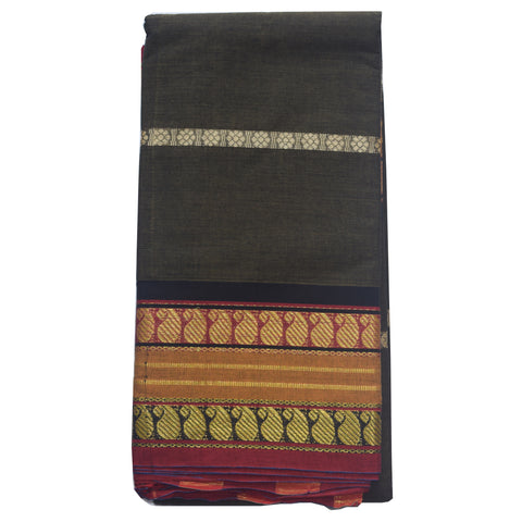 Handloom Deep Olive South Cotton saree AJODI001966