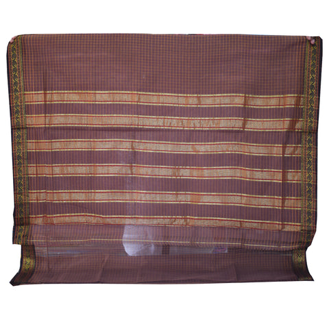 Handloom Light Brown South Cotton saree AJODI001967