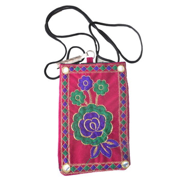 Handmade Applique Flower Design Ladies Hand Bag with Mirror Work from Rajasthan AJODI001971