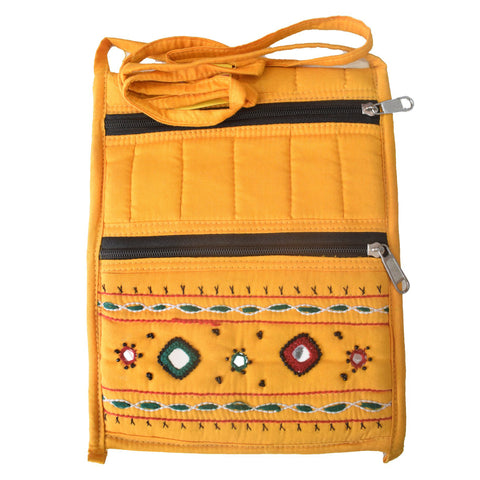 Handmade Applique Design with Mirror Work Women's Hand Purse from Pipili Odisha AJODI001981