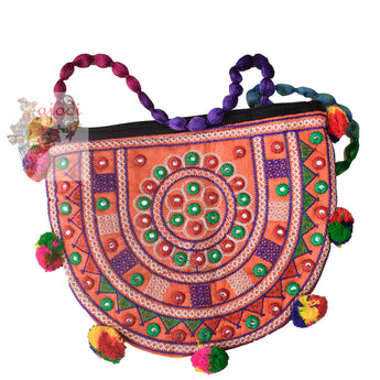 Handmade Applique Design Ladies Hand Purse from Rajasthan AJODI001982