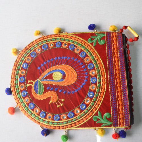Handmade Applique Peacock Design Women's Hand Purse from Rajasthan AJODI001983