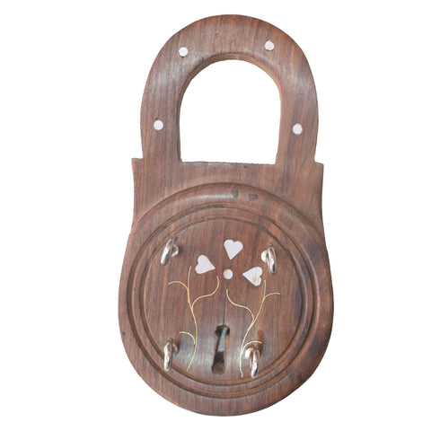 Handmade Lock Design Wooden Key Holder from Saharanpur Uttar Pradesh AJODI001990
