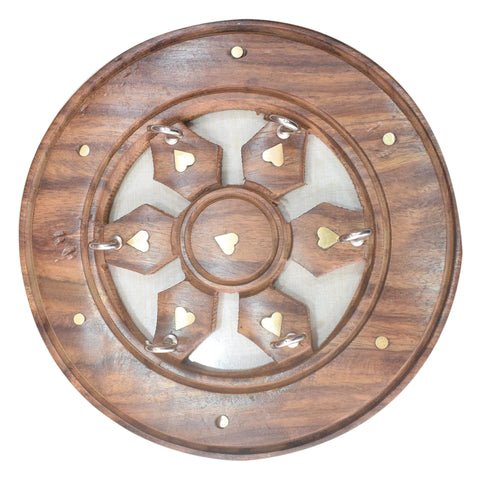 Wheel Design Wooden Key Holder Handicraft from Saharanpur Uttar Pradesh AJODI001991