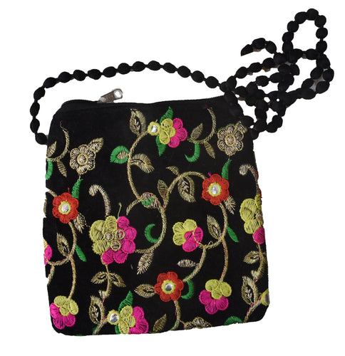 Handmade Applique Flower Design Ladies Hand Purse from Rajasthan AJODI001993