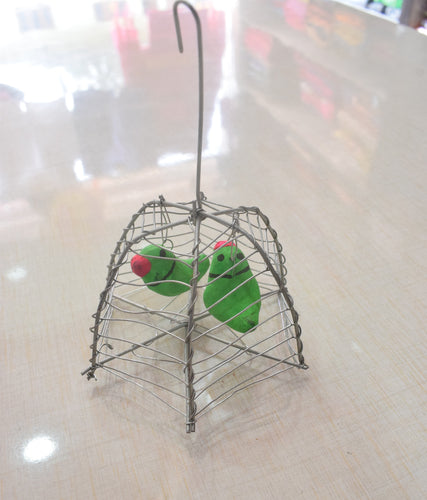 Handmade Parrots In Cage Home Decor Handicraft AJODI001995