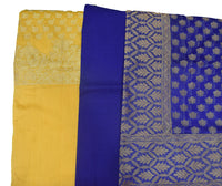Yellow With Deep Blue Handloom Banarasi Ladies Dress Material Set AJODI001999