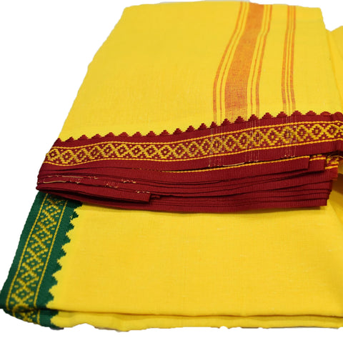 Yellow Color Handloom Cotton Joda For Puja AJODI002009