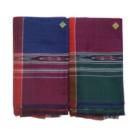 Multicolor Handwoven Cotton Towel made in Sambalpur AJODI002049
